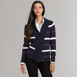 TOMMY HILFIGER - Striped Double Breasted Sweater Cardigan