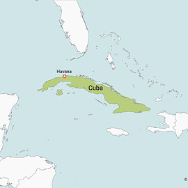 Map of Cuba with Neighbouring Countries