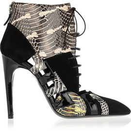 BOTTEGA VENETA - Snake, patent-leather and suede ankle boots
