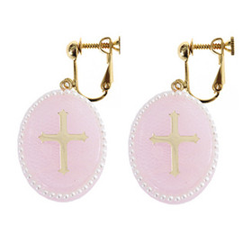 Candy Stripper - PEARL CROSS EARING