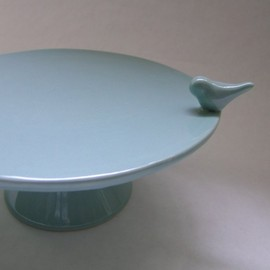 whitneysmith - Bird Ceramic Cake Stand in Robin Egg Blue