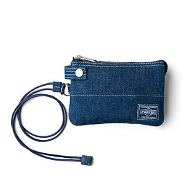 "HEAD PORTER - ""DENIM"" ZIP WALLET BLUE"