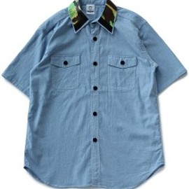 TOGA ODDS&ENDS - Rubber Collar Shirt (green)