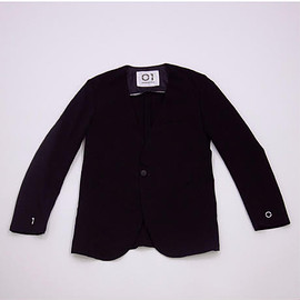 01 - No Collar Jacket (BLACK×WHITE)