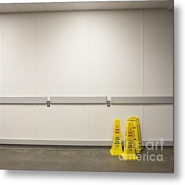 Fine Art America - Yellow Wet Floor Signs Metal Print By Jetta Productions, Inc