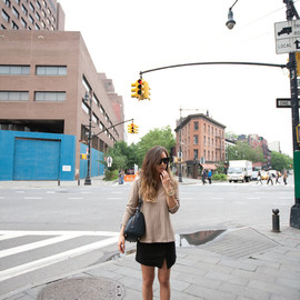 (Camilla and Marc sweater, Zara slit skirt and monk strap flats, House of Harlow Chelsea sunglasses, Céline bag)