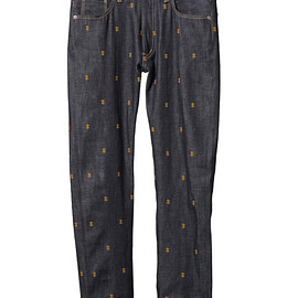 NADA. - Psychik cross embroidery denim pants-1