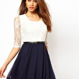 elegant lace bowknot montage dress