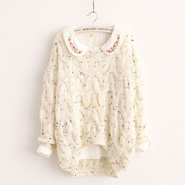 fashion - Image of [grzxy6600994]Sweet Colorful Dots Hollow Out Irregular Hem Knit Sweater Jumper Pullover