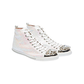 miu miu - Glitter high-top sneaker