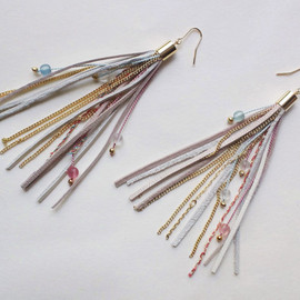 QUOLIAL - Fringe earrings with leather, silk strings, chain & beads in pastel colors - free shipping