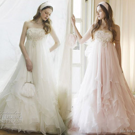 JILLSTUART - Soft, sweet, layered pink and white romantic wedding dresses from Jill Stuart