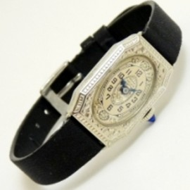 antique ladies watch with blue steel