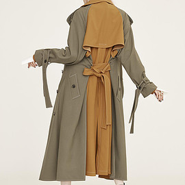 ADEAM - Olive Green/Camel Doubled Trench