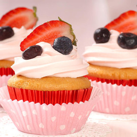 Fine Art America - Vanilla Cupcakes With Stawberry Frosting And Strawberries And Bl Photograph