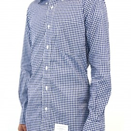 THOM BROWNE - CLASSIC SHIRT IN NAVY/ WHITE GINGHAM CHECK POPLIN WITH NAVY GG PLACKET