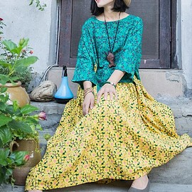 Loose Fitting Dresses - Yellow linen dress, Cotton long large size dress, Oversized Loose Fitting Dresses
