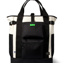Hombre Nino, PORTER - Natural 2 Way Tote Bag - Black/White