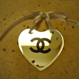 CHANEL - Chanel inspired mirror heart Christmas tree ornament with  authentic Chanel ribbon
