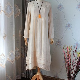 Beige maxi dress - Loose Fitting Women dress, cotton long sleeved dress