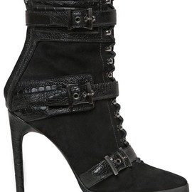 EMILIO PUCCI - 115MM SUEDE & OSTRICH ANKLE BOOTS