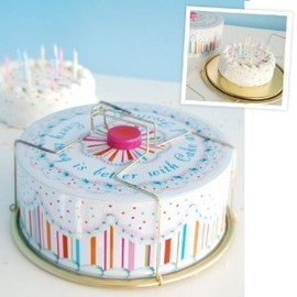 Glitterville - Vintage Style Tin Birthday Cake / Carrier, Round with Handles, Multicolored