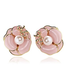alanatt - Camellia Studs Bowknot Earrings