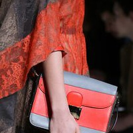 VALENTINO - Red/Grey Flap Bag - Fall 2014 Runway