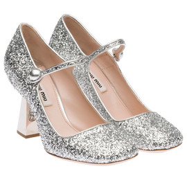miu miu - Glitter fabric Mary Jane pump with applied heel and covered button detail