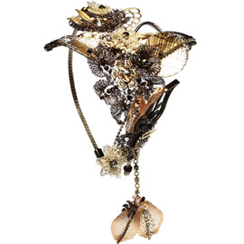 METALLIC LEATHER HIBISCUS, GILDED LILY AND BRONZED BLOSSOM BEAK CLIPS