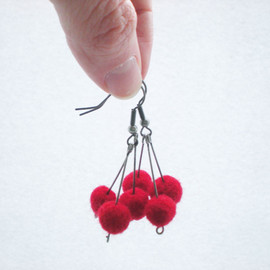 Luulla - Red Berry Earrings - Needle Felted Red Ball Earrings