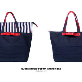 Quote Studio - Quote Leather and Canvas Market Bag -- Stripe pop-up