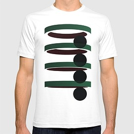American Apparel - Geometric coloured architectural urban circles and elipses in green  and red graphic T-shirt