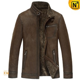 CWMALLS - Mens Brown Fur Lined Leather Jacket CW833356 - CWMALLS.COM