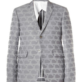 THOM BROWNE - Whale-Patterned Cotton-Blend Blazer