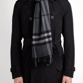 Burberry - Dark Charcoal Icon Check Cashmere Scarf