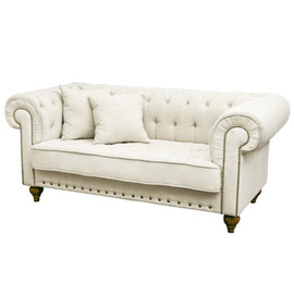 Kino - White Fabric 2P Sofa