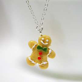 fingerfooddelight - Kawaii Cute Miniature Food Necklaces - GingerBread Cookies with Sterling Silver Chain