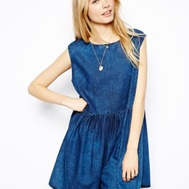 ASOS - Sleeveless Denim Smock Dress in Dark Wash
