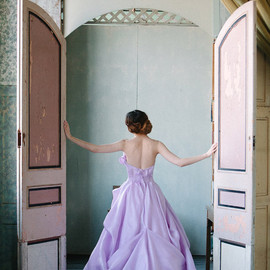 sareh nouri - orchid strapless wedding dress back view train