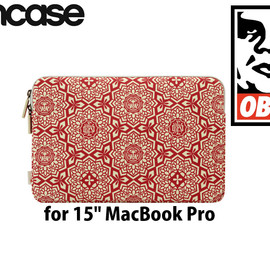 """OBEY - Shepard Fairey Canvas Sleeve for 15"""" MacBook Pro OBEY GIANT YEN PATTERN RED"""