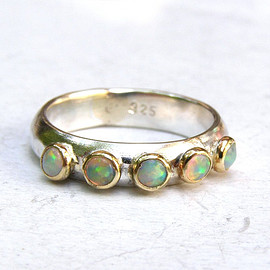 White Opal ring,Fine jewelry, Stacking ring -