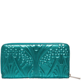 LIBERTY LONDON - GREEN IANTHE EMBOSSED PATENT LEATHER ZIP-AROUND WALLET
