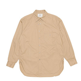 salvy; - High Count Twill Burberry Long Point Shirt-Beige