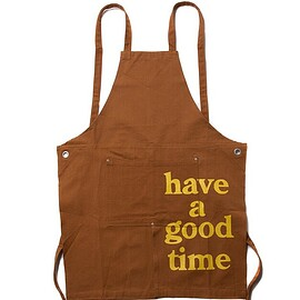 have a good time - LOGO APRON BROWN