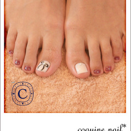 coquine nail - リボンフット。