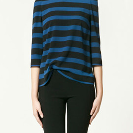 ZARA - Cobalt Blue and Black Top