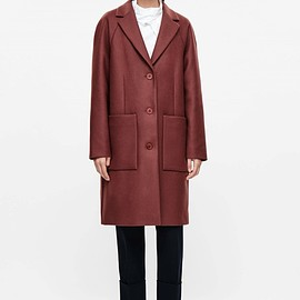 COS - Rounded wool coat in Red Ochre