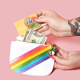 big bud - Rainbow denim coin purse