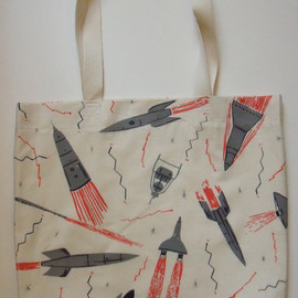 caitlin hinshelwood - Rockets and Satellites Screen Print Space Bag